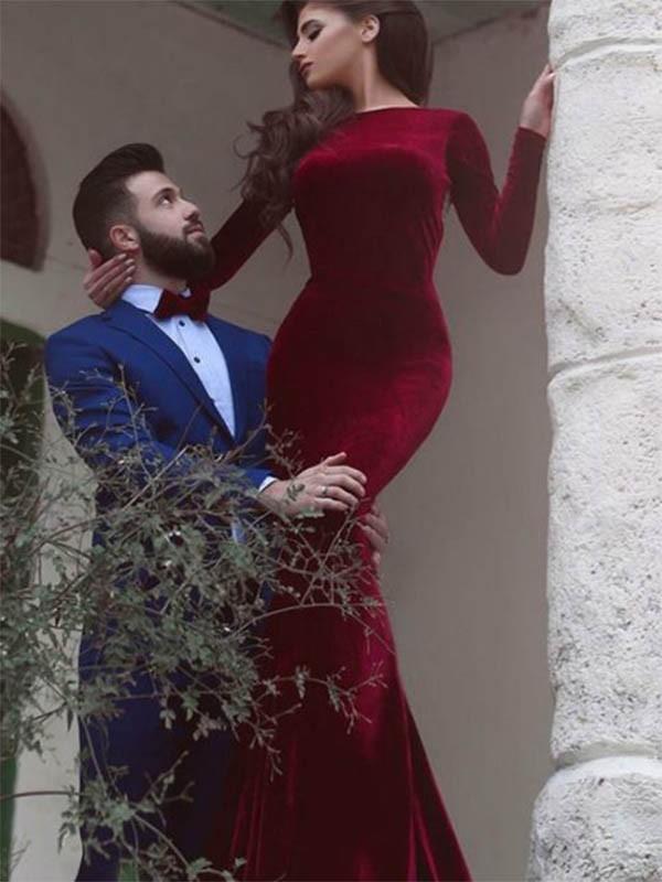 Floor-Length Sheath/Column Jewel Long Sleeves Velvet Dresses