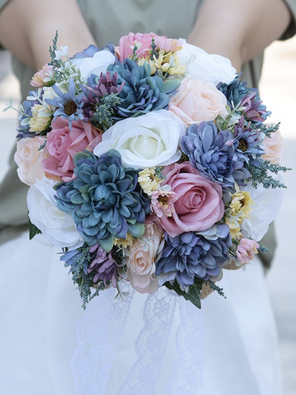 Fancy Round Artificial Flower Bridal Bouquets