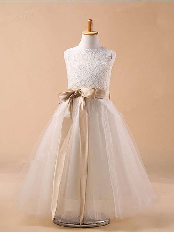 Tea-Length Ball Gown Jewel Sleeveless Bowknot Tulle Dresses