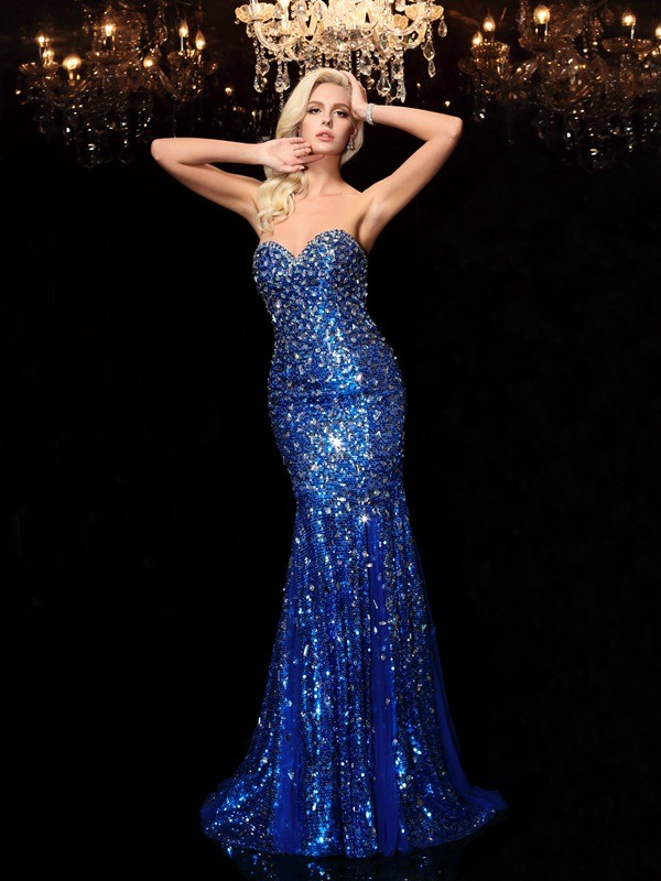 Court Train Trumpet/Mermaid Sweetheart Sleeveless Sequin Sequins Dresses