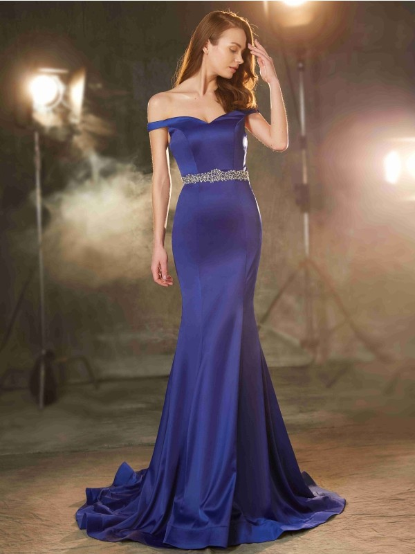 Sweep/Brush Train Trumpet/Mermaid Off-the-Shoulder Sleeveless Crystal Satin Dresses