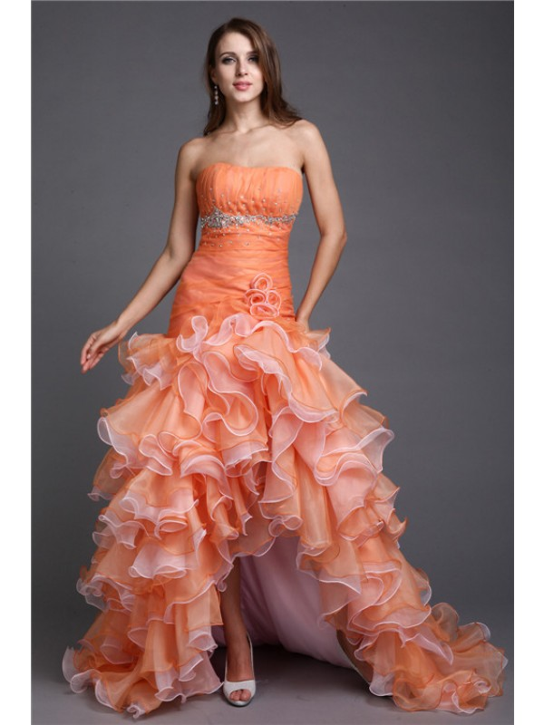 Asymmetrical Ball Gown Strapless Sleeveless Beading Organza Dresses