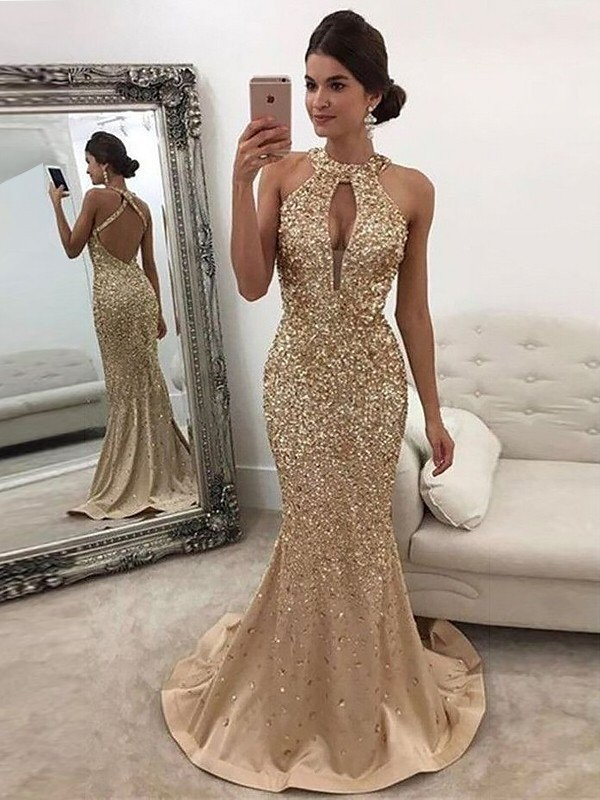 Sweep/Brush Train Trumpet/Mermaid Halter Sleeveless Sequin Satin Dresses