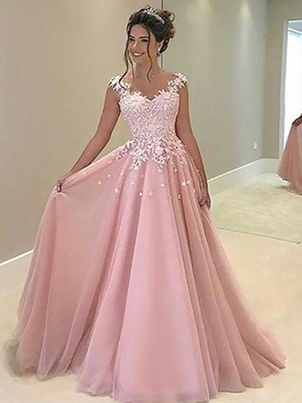 Floor-Length A-Line/Princess Sweetheart Sleeveless Applique Tulle Dresses