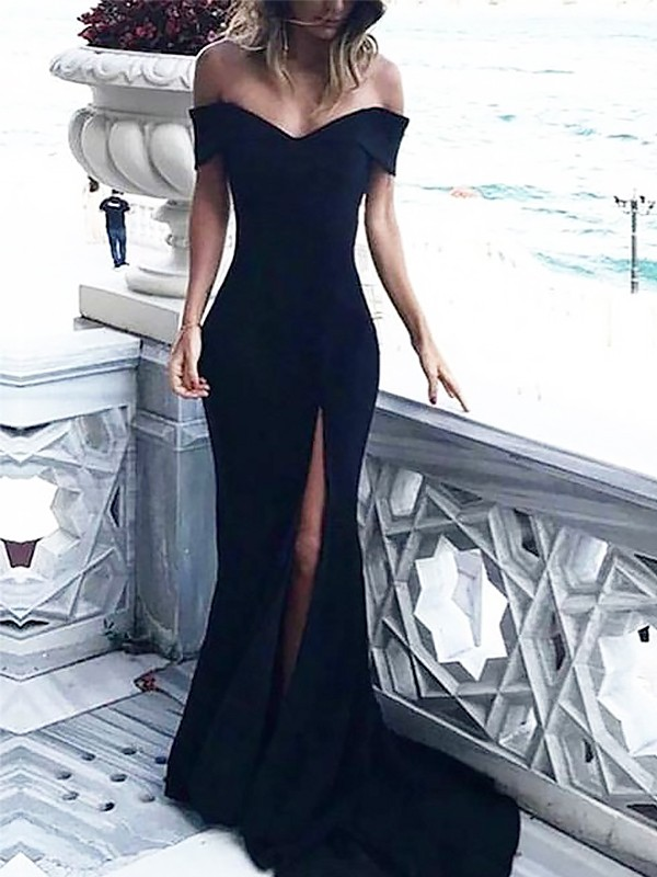 Court Train Sheath/Column Off-the-Shoulder Sleeveless Ruched Spandex Dresses