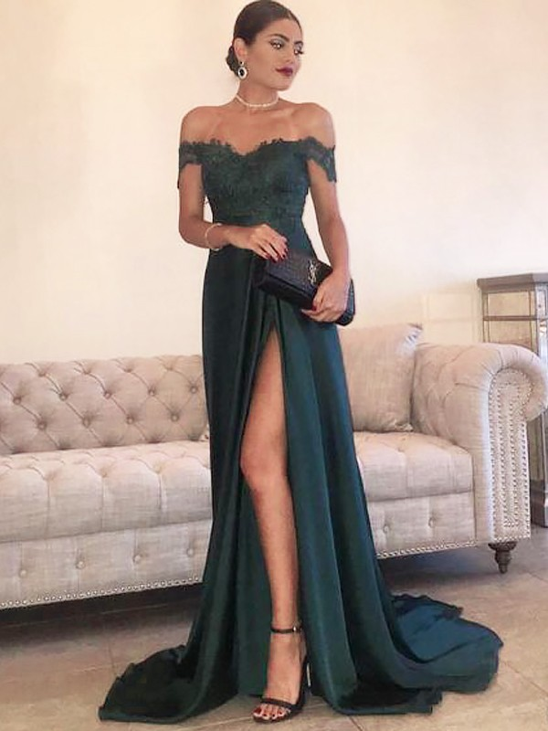 Sweep/Brush Train A-Line/Princess Off-the-Shoulder Sleeveless Lace Satin Dresses
