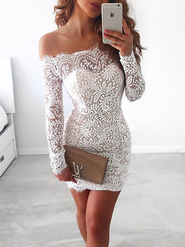 Short/Mini Sheath/Column Off-the-Shoulder Long Sleeves Lace Dresses