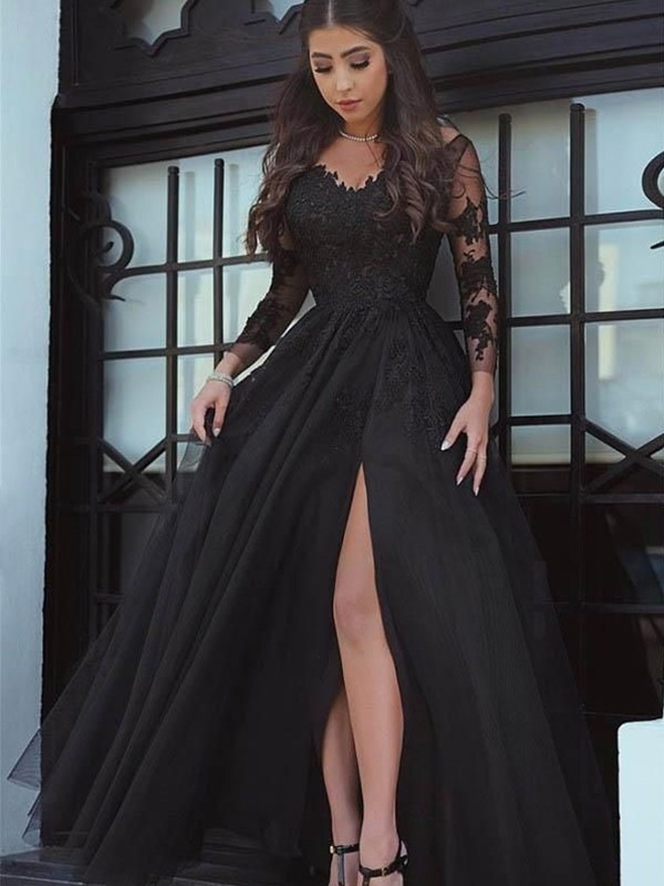Floor-Length Ball Gown Off-the-Shoulder Long Sleeves Tulle Dresses