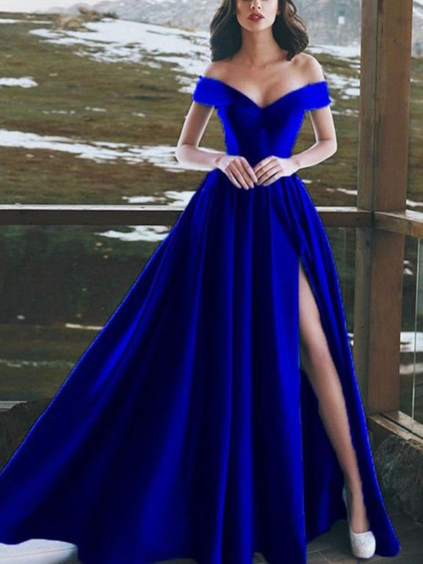 Floor-Length A-Line/Princess Off-the-Shoulder Sleeveless Satin Dresses