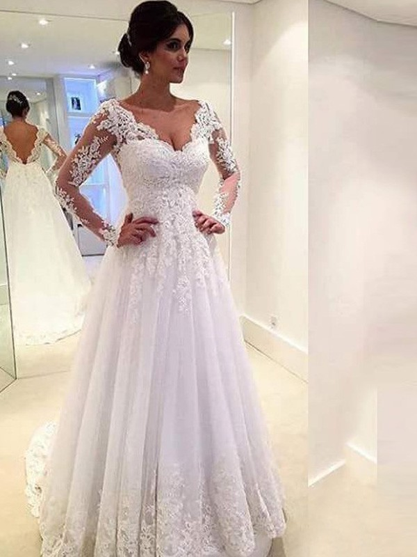 Sweep/Brush Train Ball Gown V-neck Long Sleeves Lace Tulle Wedding Dresses