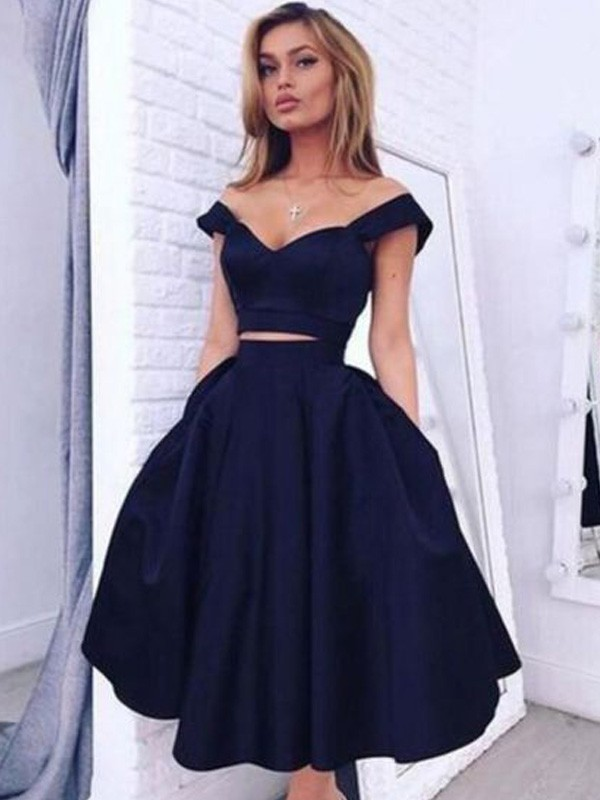 Tea-Length A-Line/Princess Off-the-Shoulder Sleeveless Satin Dresses