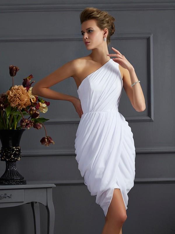 a19e239743c Short/Mini Sheath/Column One-Shoulder Sleeveless Pleats Chiffon Dresses