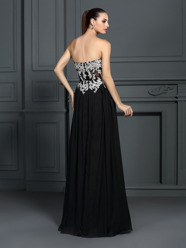 60e4d4edda Floor-Length A-Line/Princess Sweetheart Sleeveless Applique Chiffon Dresses  - Miagal