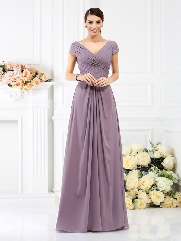 f40254f13803 Floor-Length A-Line/Princess V-neck Short Sleeves Pleats Chiffon Bridesmaid