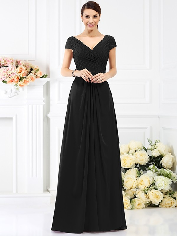 8bc2e3ec2600 Home · Floor-Length A-Line/Princess V-neck Short Sleeves Pleats Chiffon  Bridesmaid Dresses · show as picture · show as picture · black ...
