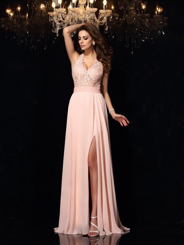 f8a8b64a078 Sweep Brush Train A-Line Princess Halter Sleeveless Lace Chiffon Dresses