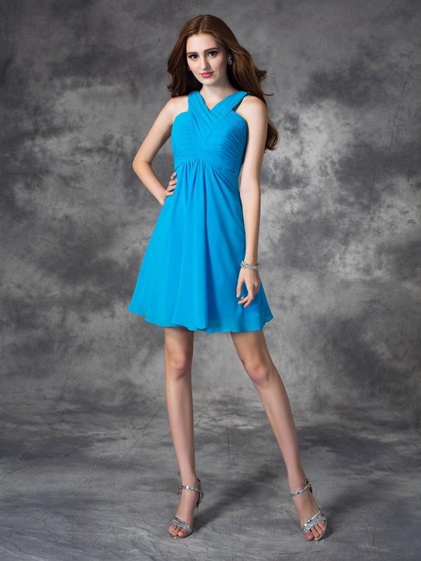 b6ad9bfee1a8 Short/Mini A-Line/Princess V-neck Sleeveless Ruffles Silk like Satin ...