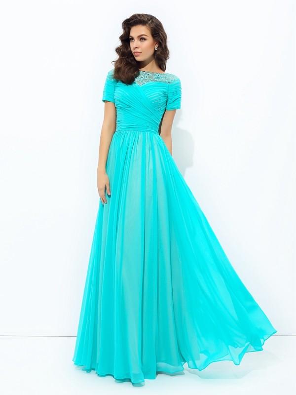 375ba023df57 Floor-Length A-Line/Princess Bateau Short Sleeves Lace Chiffon Dresses
