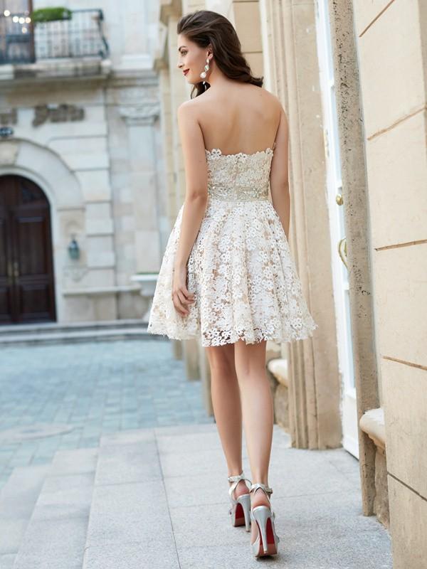 a8ae24fbfacb8e Short/Mini A-Line/Princess Sweetheart Sleeveless Rhinestone Lace Dresses -  Miagal