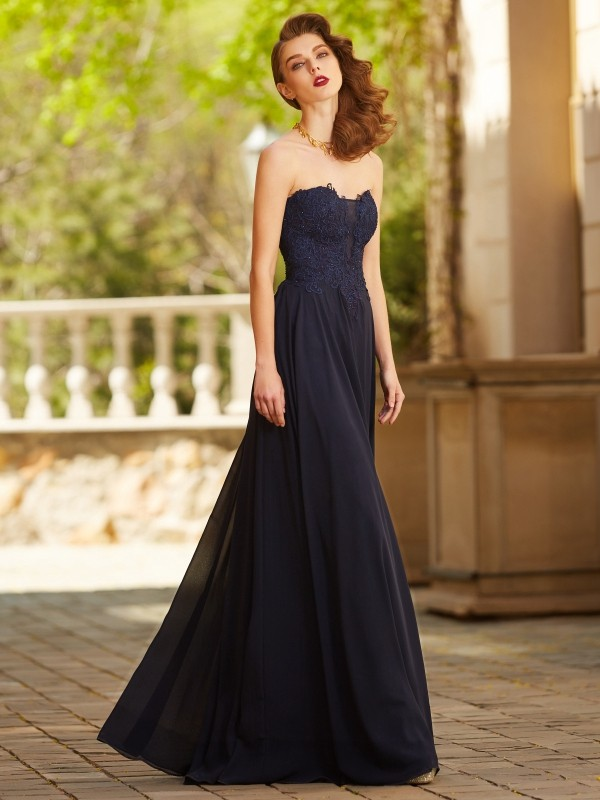7e60cca346 Floor-Length A-Line/Princess Sweetheart Sleeveless Applique Chiffon Dresses