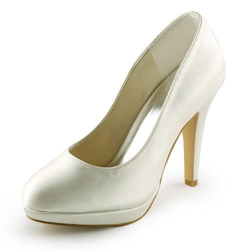 d955f6bf00 The Most Stylish Women's Beautiful Satin Stiletto Heel Closed Toe Platform  Ivory Wedding Shoes