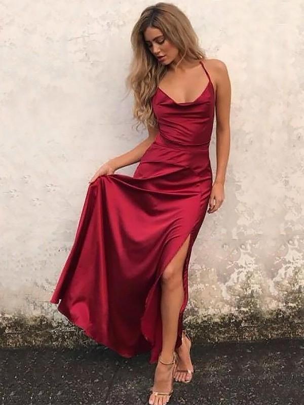 b37b45785643 Floor-Length A-Line/Princess Spaghetti Straps Sleeveless Ruffles Elastic  Woven Satin Dresses
