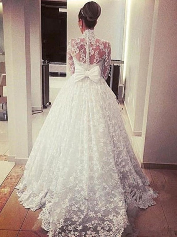 86e3c73fd371 ... Cathedral Train Ball Gown Long Sleeves High Neck Lace Wedding Dresses