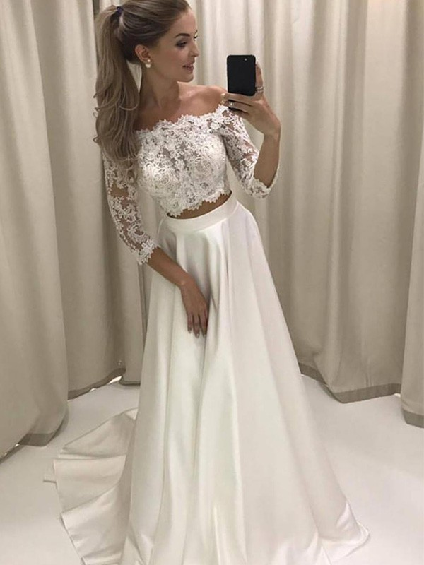 36d753126f2 Court Train A-Line/Princess 3/4 Sleeves Off-the-Shoulder Satin ...
