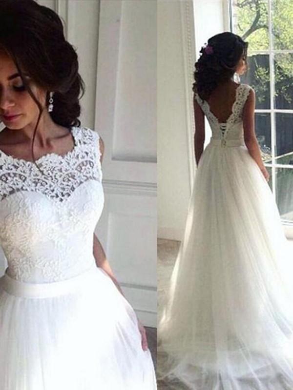 053c21935cfb5 Sweep/Brush Train A-Line/Princess Bateau Tulle Wedding Dresses - Miagal