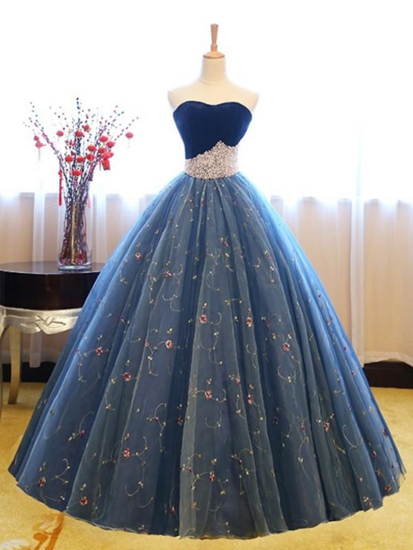 Floor Length Ball Gown Sweetheart Sleeveless Net Dresses Miagal