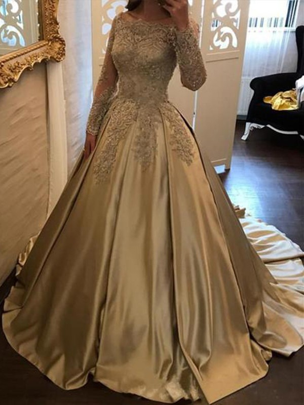 d58c2d4bf5a6 Sweep/Brush Train Ball Gown Off-the-Shoulder Long Sleeves Satin Dresses