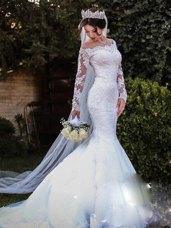 Trumpet Mermaid Tulle Lace Off The Shoulder Long Sleeves Sweep