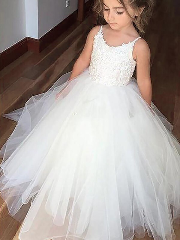 a0324ef1d7457 Ball Gown Jewel Sleeveless Lace Floor-Length Tulle Flower Girl Dresses