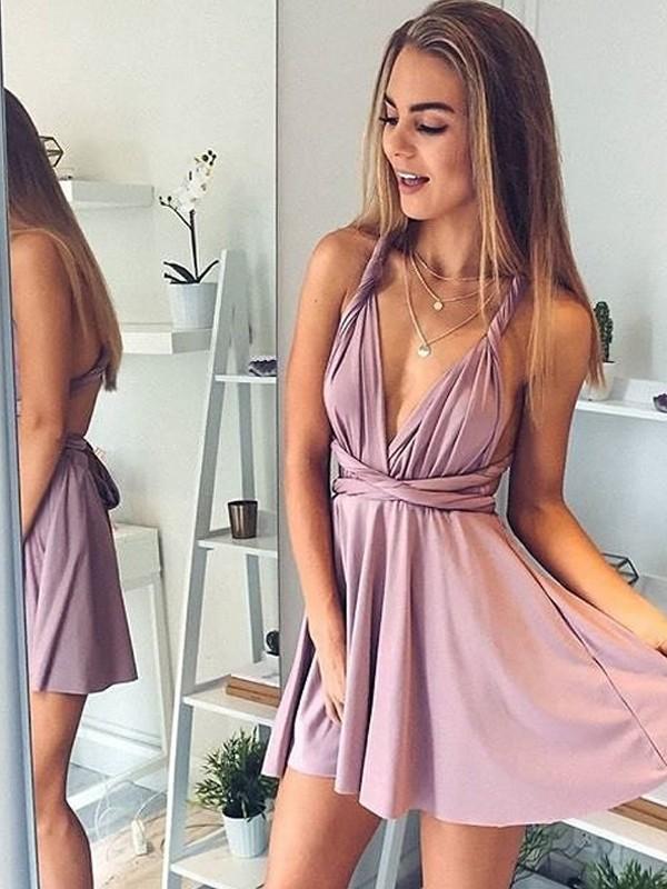 bc00c6010 Short/Mini A-Line/Princess V-neck Sleeveless Silk like Satin Dresses ...
