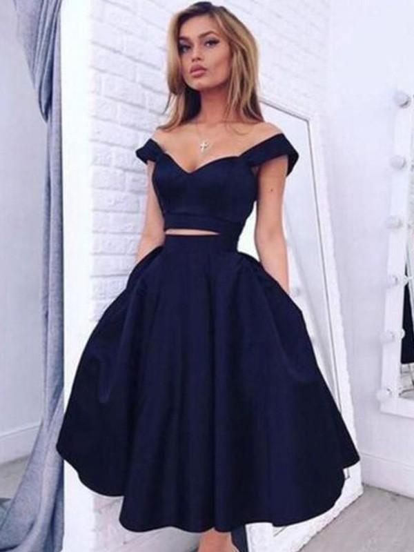 457cd00c05b7 Tea-Length A-Line/Princess Off-the-Shoulder Sleeveless Satin Dresses ...