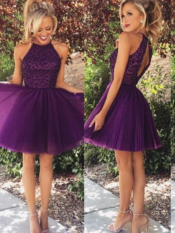 3826571e57 Short/Mini A-Line/Princess Halter Sleeveless Beading Tulle Dresses ...