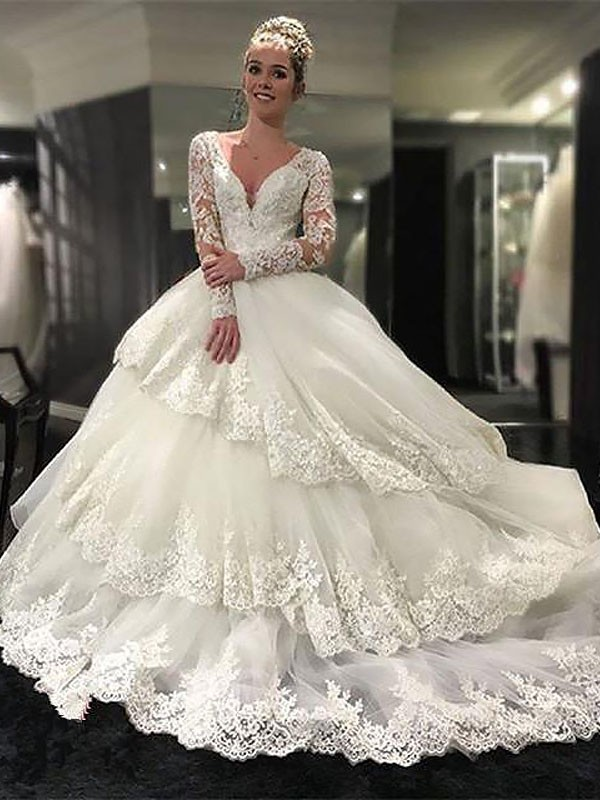 d56a6d7962d5 Court Train Ball Gown Long Sleeves V-neck Tulle Wedding Dresses - Miagal