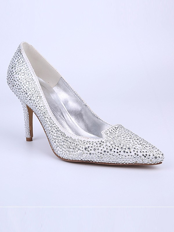 Silver Wedding Shoes.The Most Fashionable Women S Closed Toe Stiletto Heel With Crystal Silver Wedding Shoes