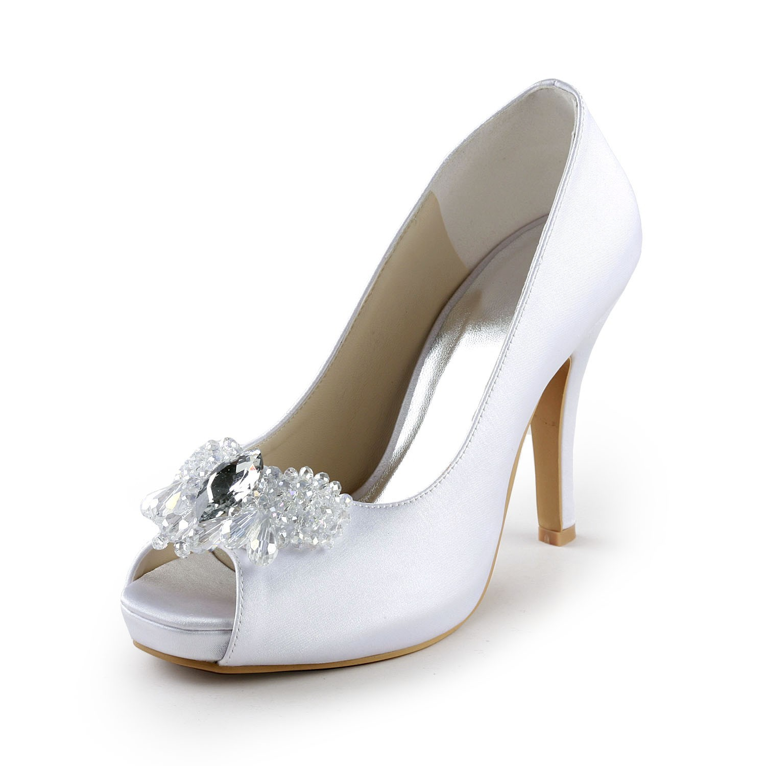 4b55791b9ae The Most Trendy Women's Satin Upper Stiletto Heel Peep Toe Pumps with  Rhinestone White Wedding Shoes