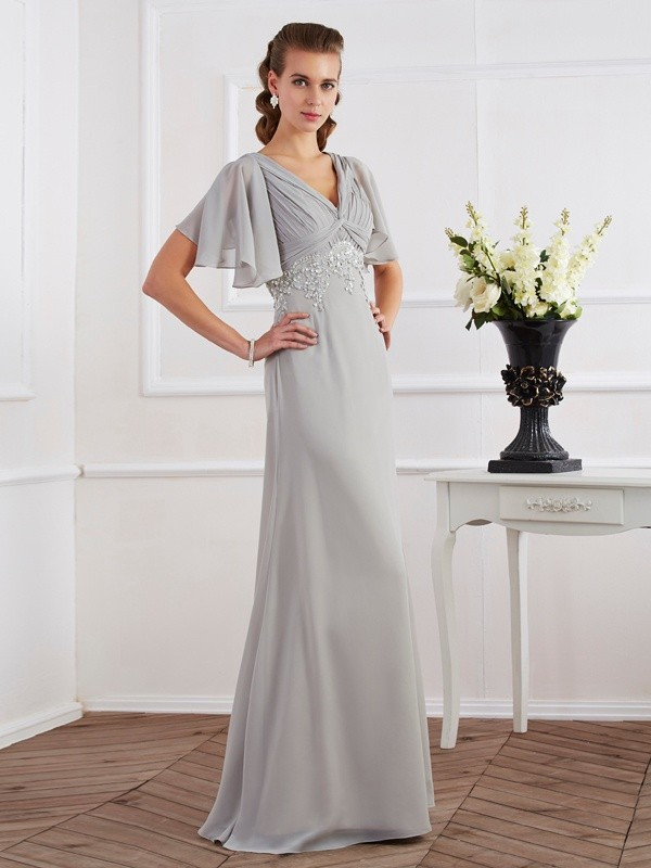 Floor-Length Sheath Column V-neck Short Sleeves Beading Chiffon Dresses 8696a9c21