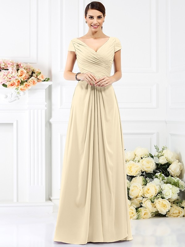 b5e68a63ffb Share on Tumblr Tweet. Save. Share on google. Floor-Length A-Line Princess  V-neck Short Sleeves Pleats Chiffon Bridesmaid Dresses