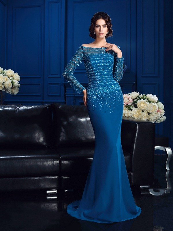 b1b4616172d ... Mother of the Bride Dresses · Sweep Brush Train Sheath Column  Off-the-Shoulder Long Sleeves Beading Chiffon