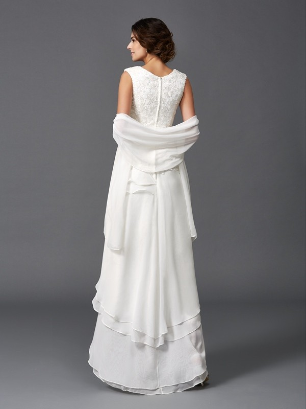 efd00c31732 Asymmetrical A-Line Princess Scoop Sleeveless Lace Chiffon Mother of the Bride  Dresses - Miagal