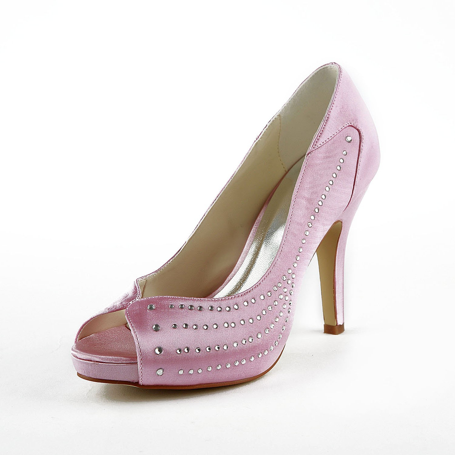 fea53d8a1028 The Most Fashionable Women s Satin Stiletto Heel Peep Toe Platform Pink  Wedding Shoes With Rhinestone