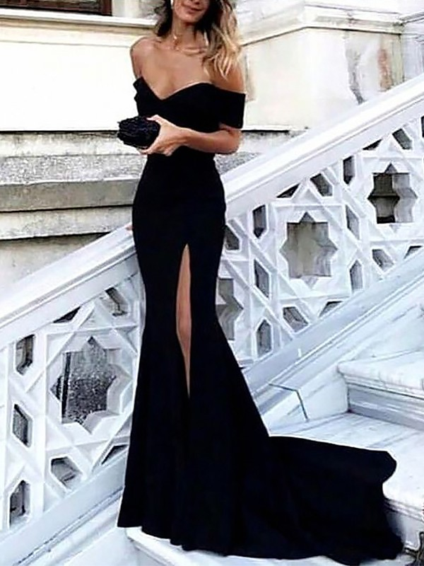 37d3e38d864 Sheath Off-the-Shoulder Sleeveless Sweep Brush Train With Ruched Satin  Dresses