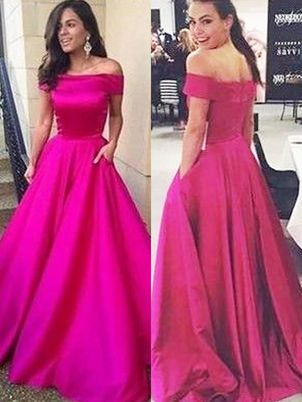 960a2acdceb Sweep Brush Train A-Line Princess Off-the-Shoulder Sleeveless Ruffles