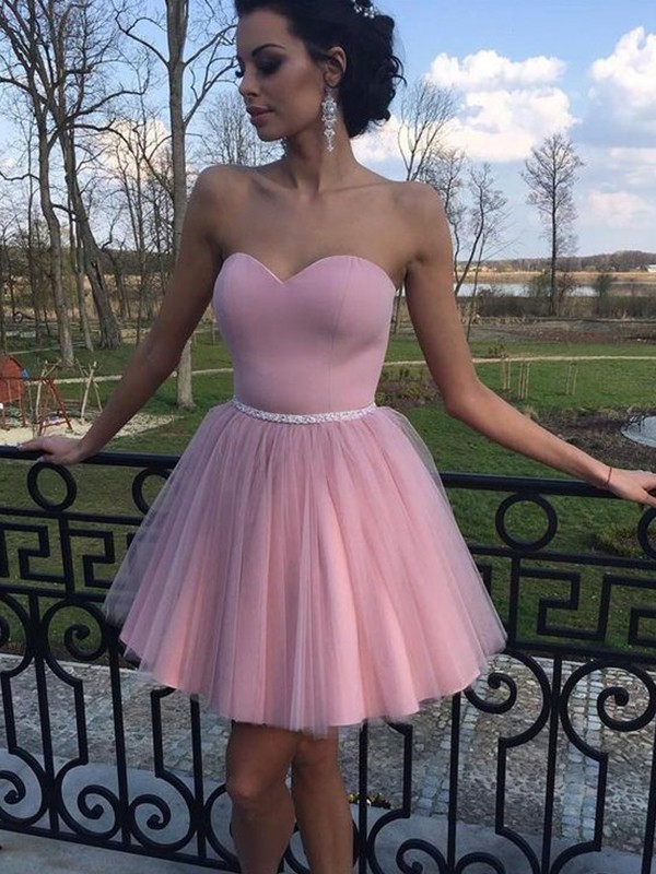 18e465ab656 Short Mini A-Line Princess Sweetheart Sleeveless Pleats Tulle Dresses
