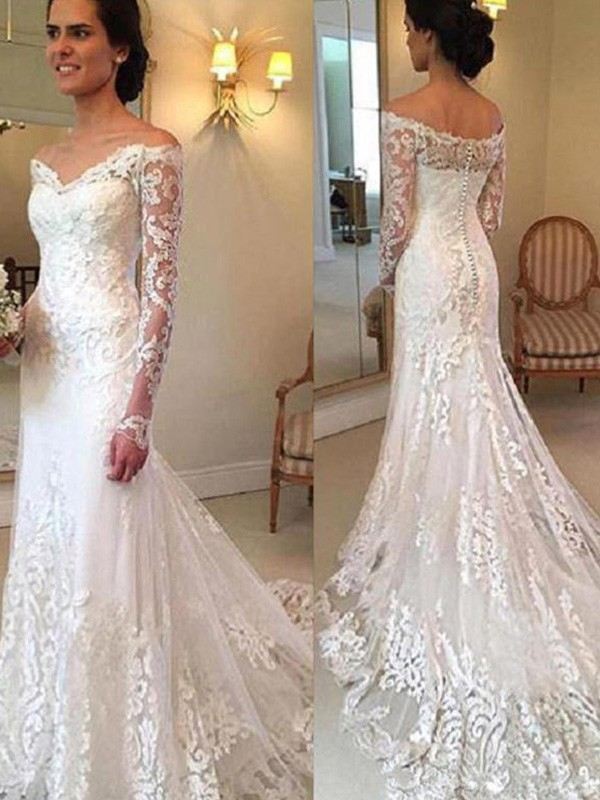 0fa2892fbab Court Train Trumpet Mermaid Long Sleeves Off-the-Shoulder Lace Wedding  Dresses