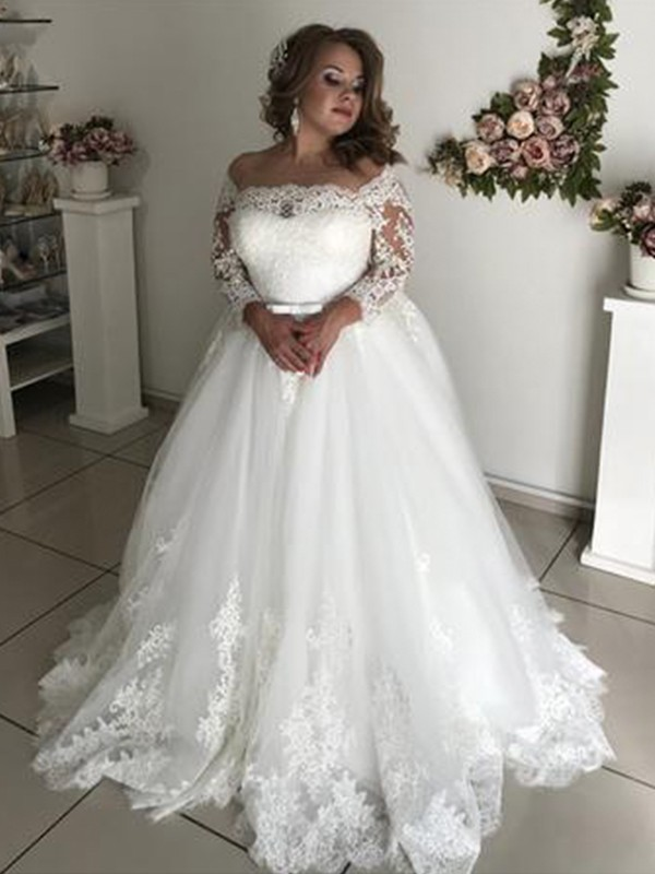 b59502731cd ... Wedding Dresses · Sweep Brush Train A-Line Princess Off-the-Shoulder Long  Sleeves