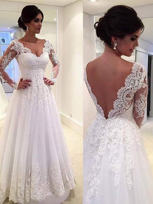Sweepbrush Train Ball Gown V Neck Long Sleeves Lace Tulle Wedding
